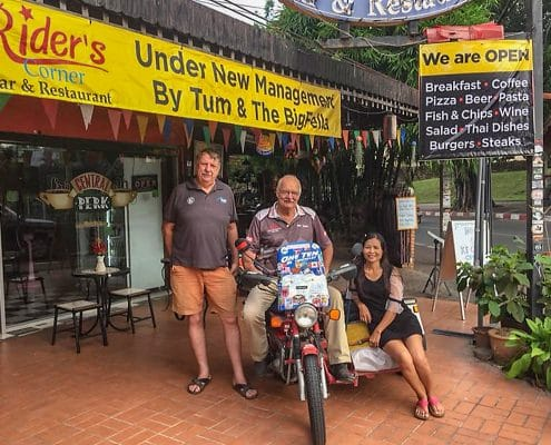 Ian Bob Dibble and Tum at Rider's Corner as Bob set off to continue his Round-the-World Trip